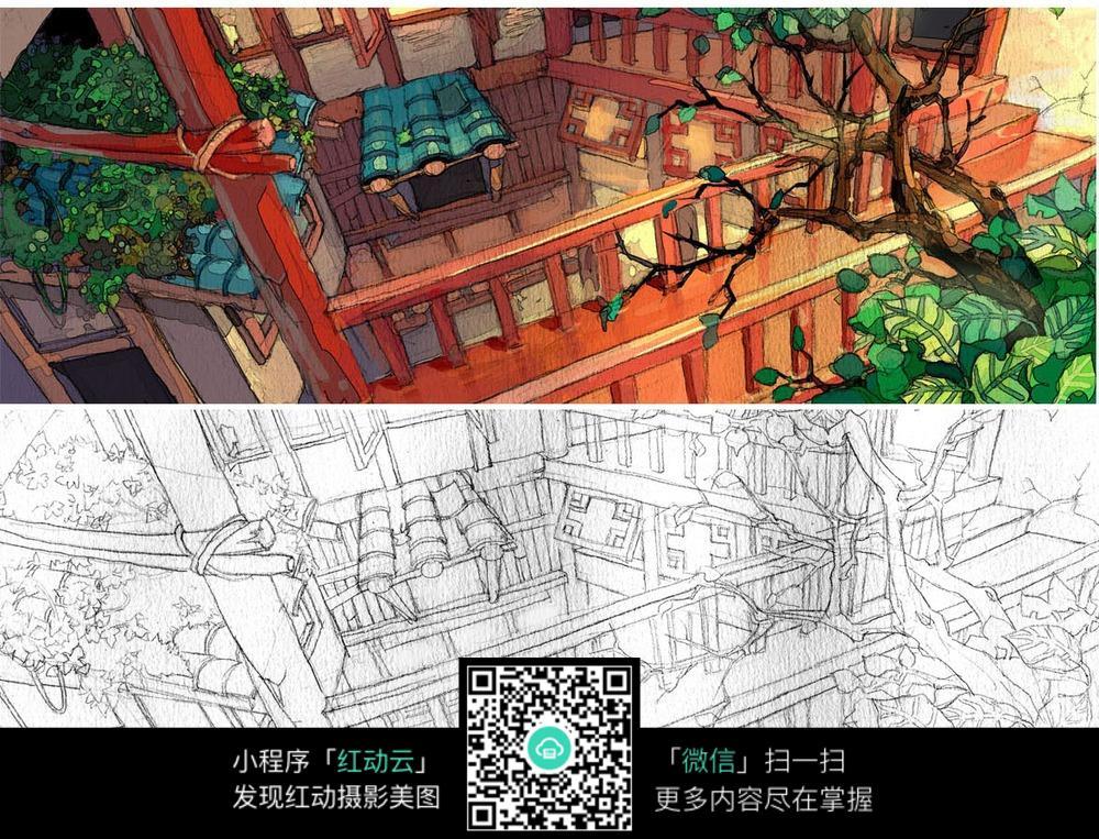 日式庭院插画_人物卡通图片