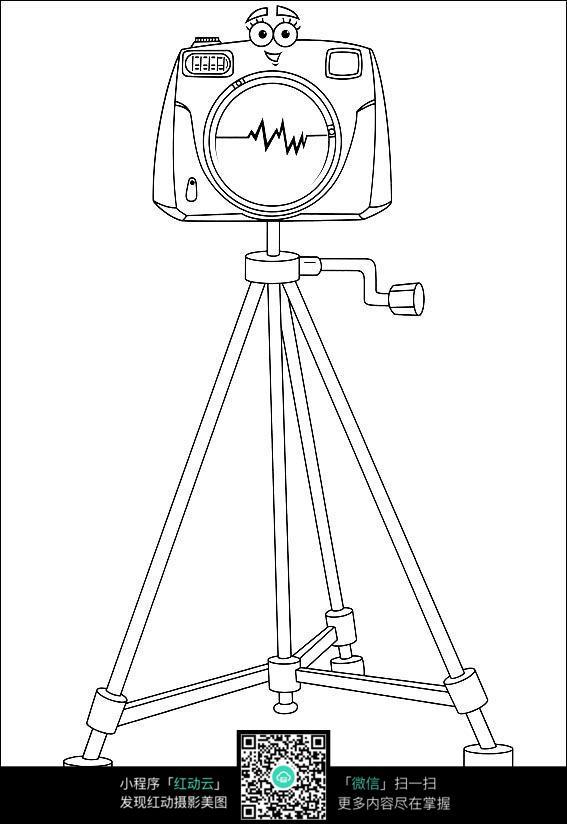 免费素材 图片素材 漫画插画 人物卡通 三脚架上的相机
