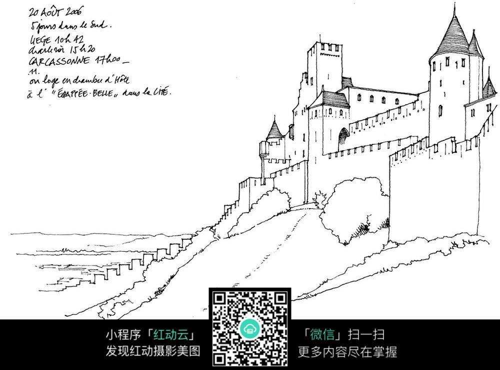 山坡建筑手绘线描图图片