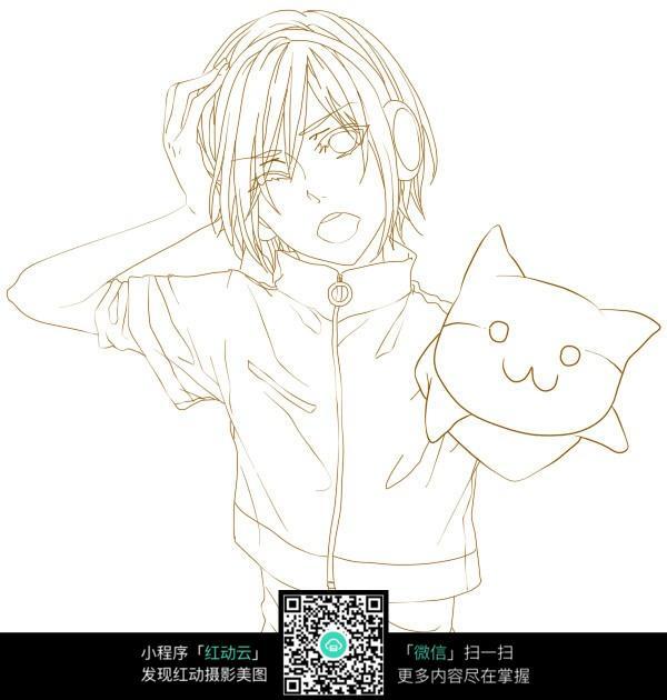 少年和小动物卡通手绘线稿