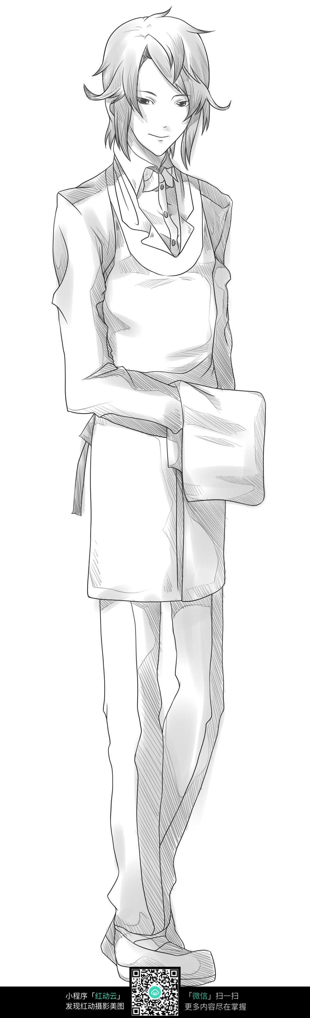 少年 卡通 手绘线稿 卡通人物 手绘 线稿 漫画  卡通素材  插画 人物
