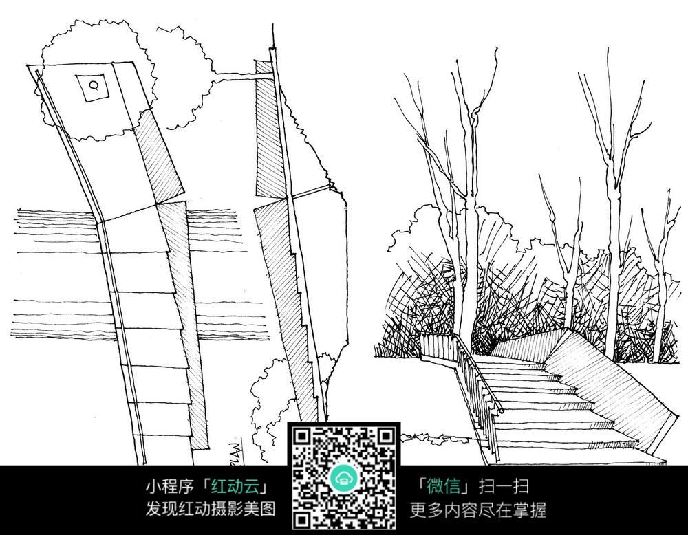 室外景观手绘线描图_建筑设计图片