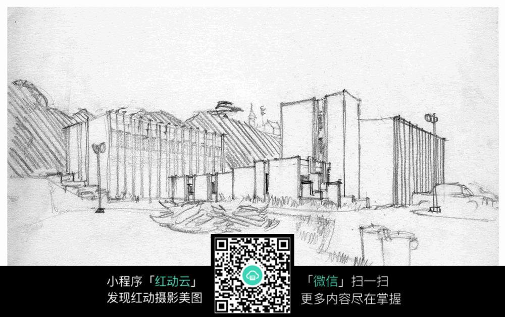 手绘城市建筑线描画