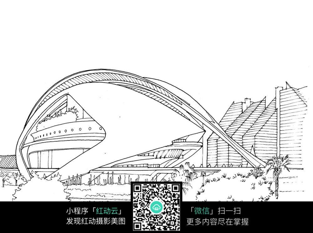 手绘城市景观钢笔画_建筑设计图片