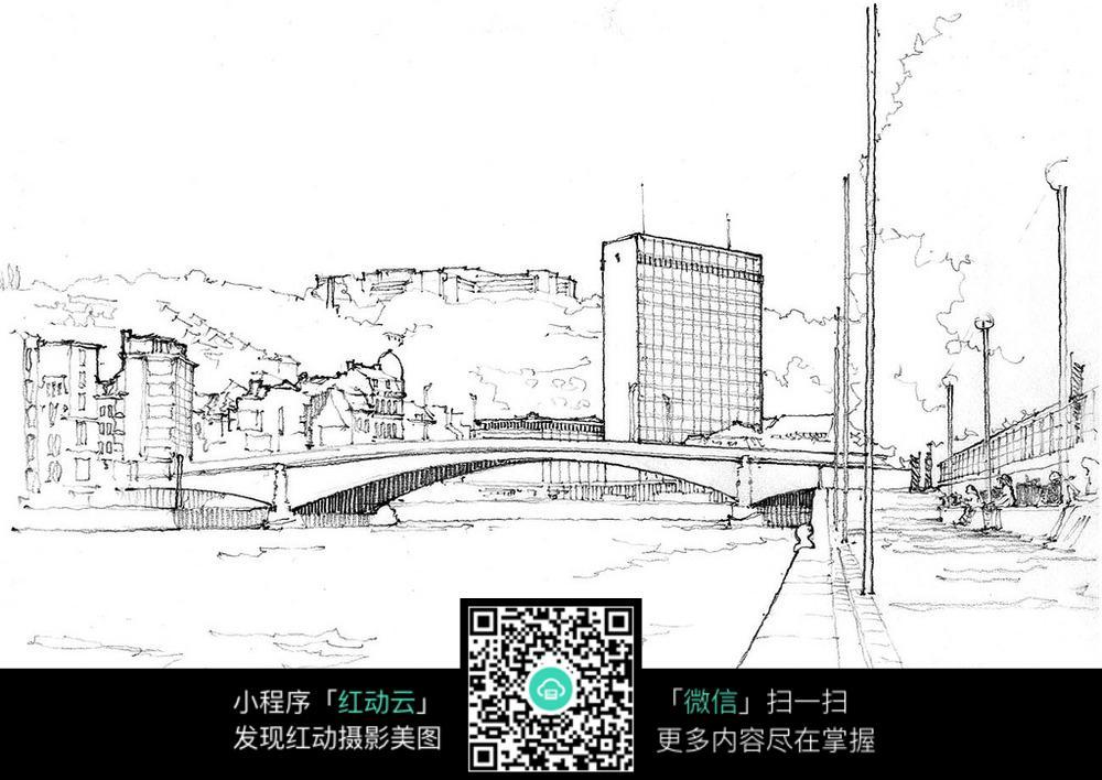 手绘城市景观钢笔线描画图片免费下载 编号3724926 红动网图片