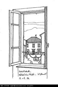 手绘窗外建筑钢笔线描画图片