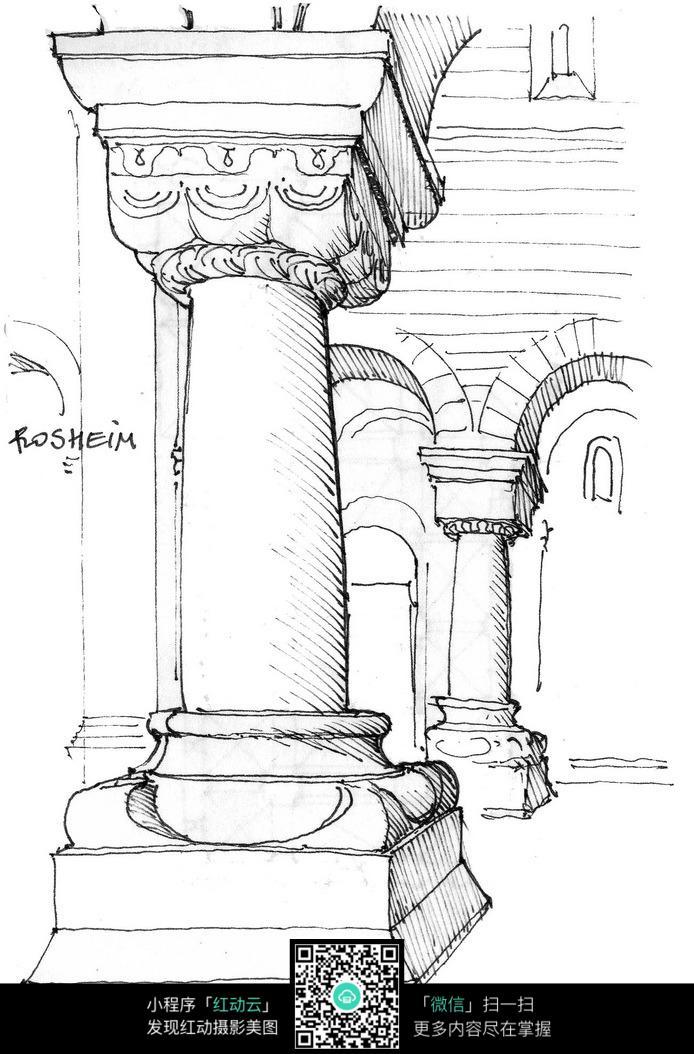 手绘宫廷罗马柱钢笔线描画图片