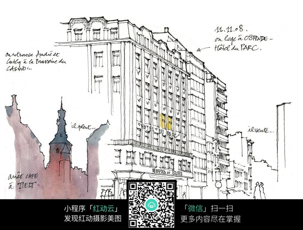 手绘古老建筑钢笔画