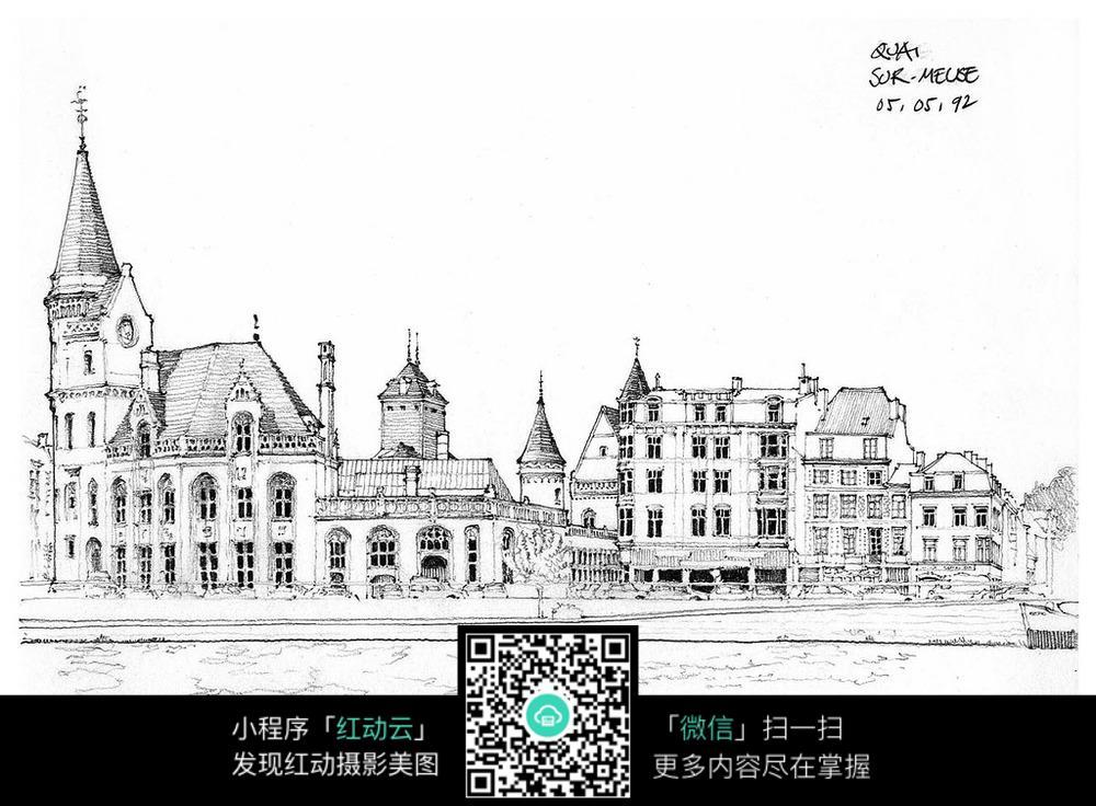 手绘古老建筑线描图