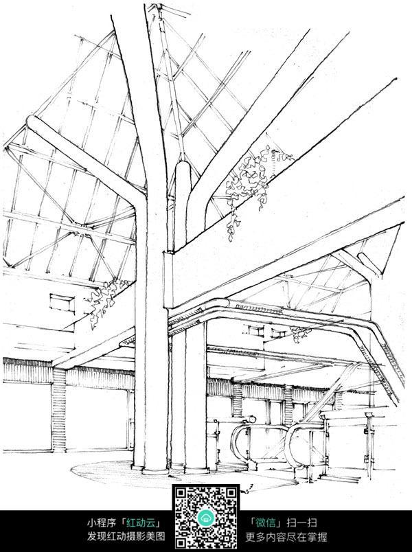 手绘火车地铁站钢笔画