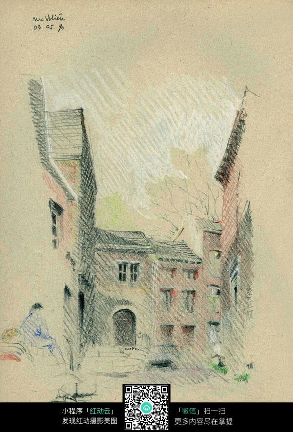 手绘建筑彩铅线描图