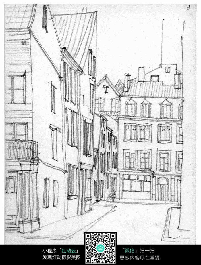 手绘建筑钢笔线描画图片