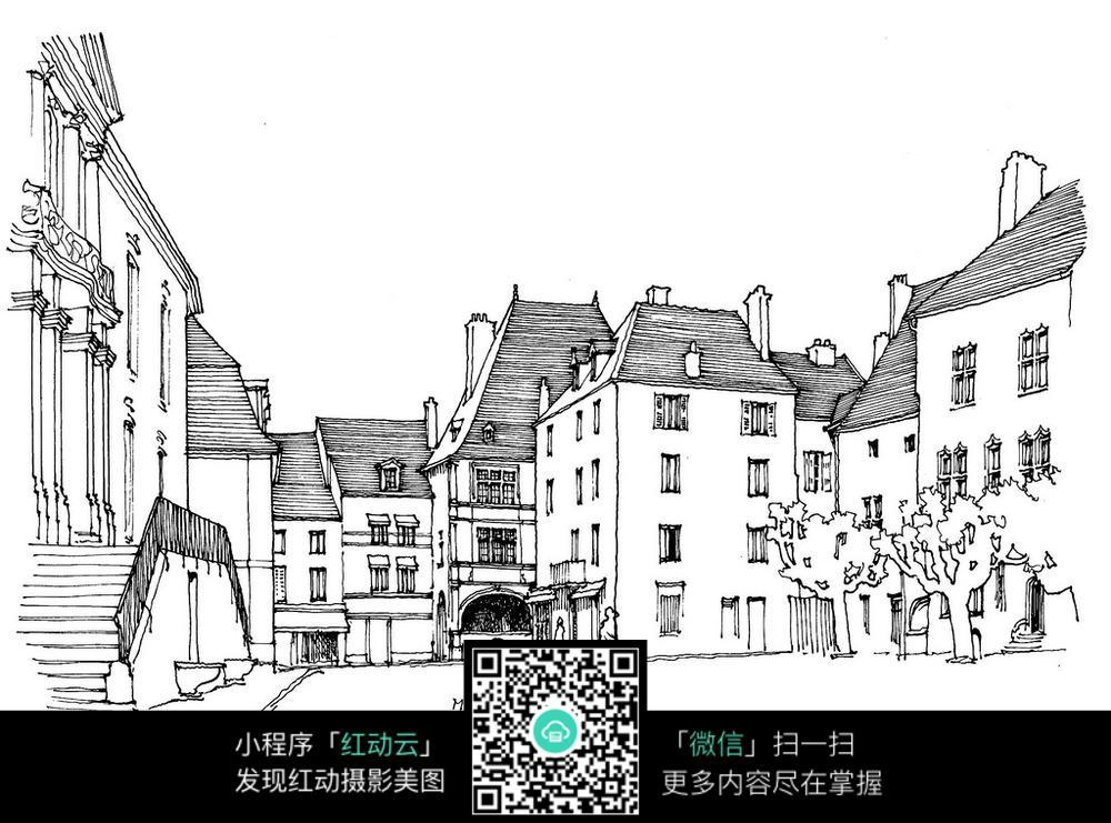 手绘建筑街道钢笔线描画