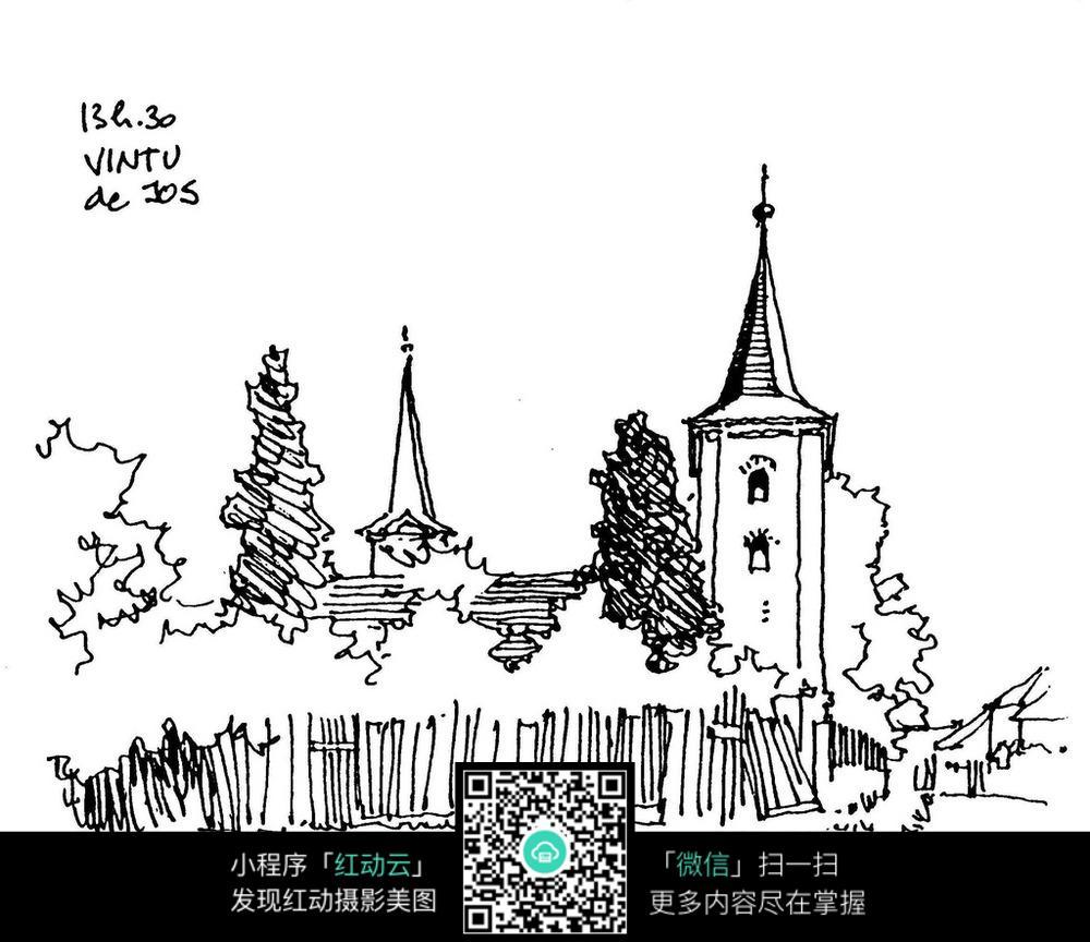 手绘建筑景观线描图