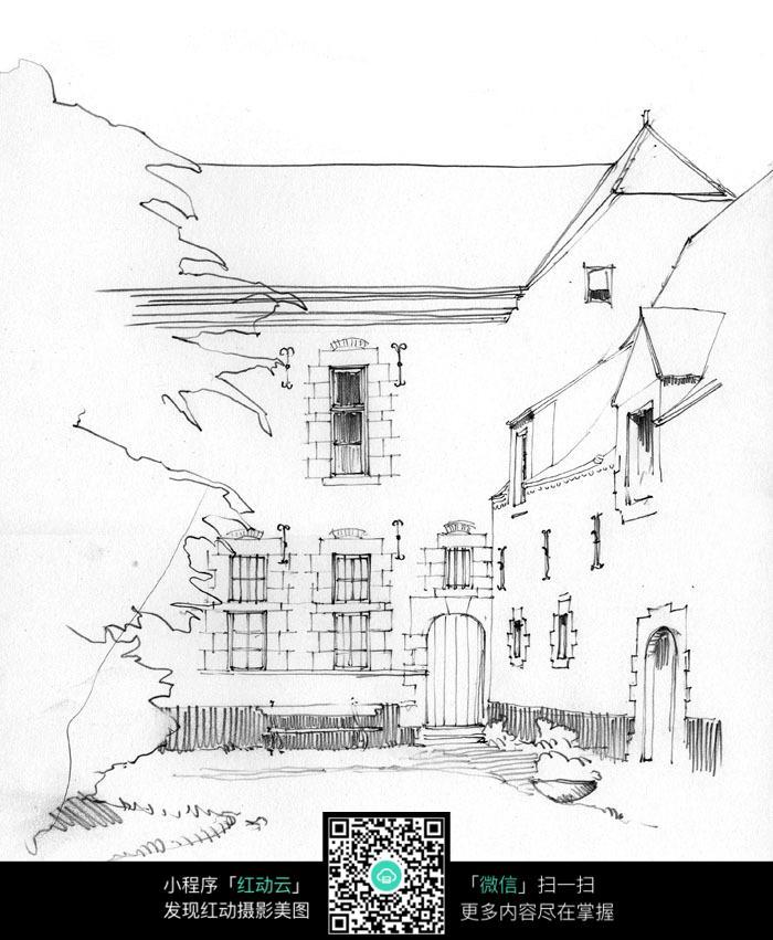 手绘建筑庭院钢笔线描画