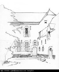 手绘建筑庭院钢笔线描画图片
