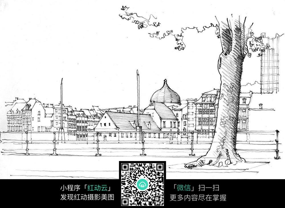 手绘建筑围栏大树钢笔简笔画图片