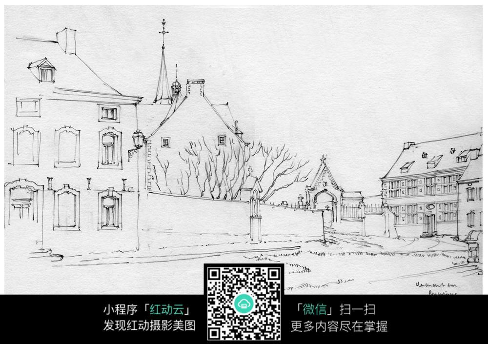 手绘建筑小路线描画图片