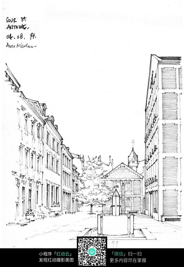 手绘街道线描图
