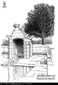 手绘景观建筑钢笔线描画图片