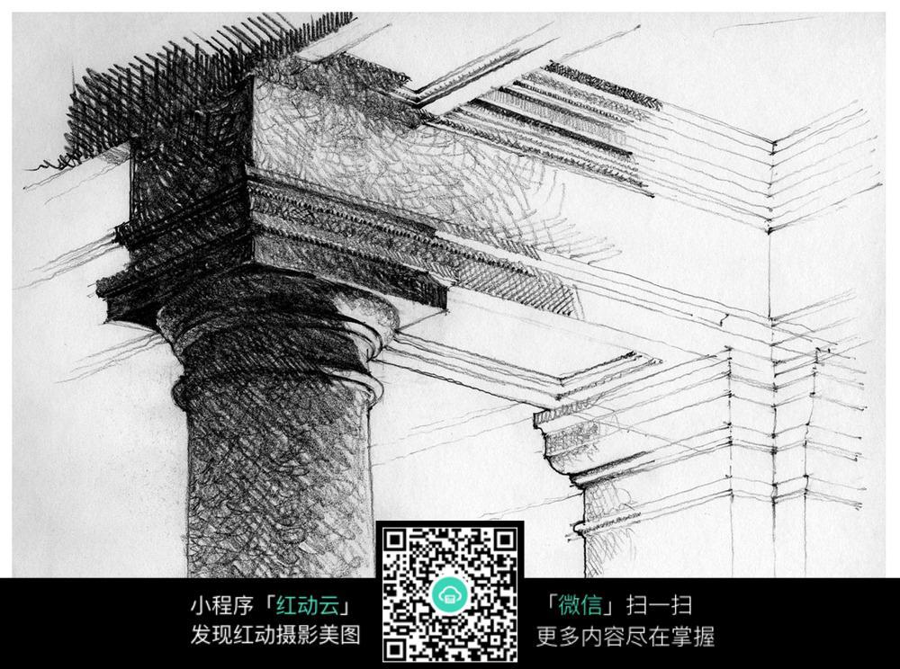 手绘罗马柱结构素描画