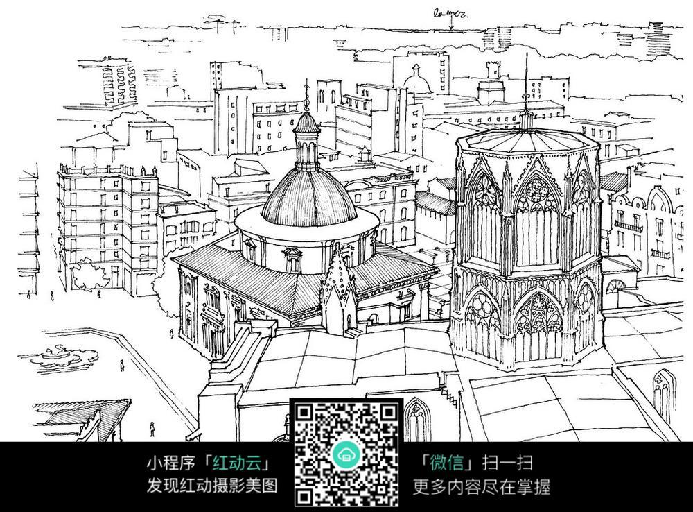 手绘欧式城市建筑钢笔线描画