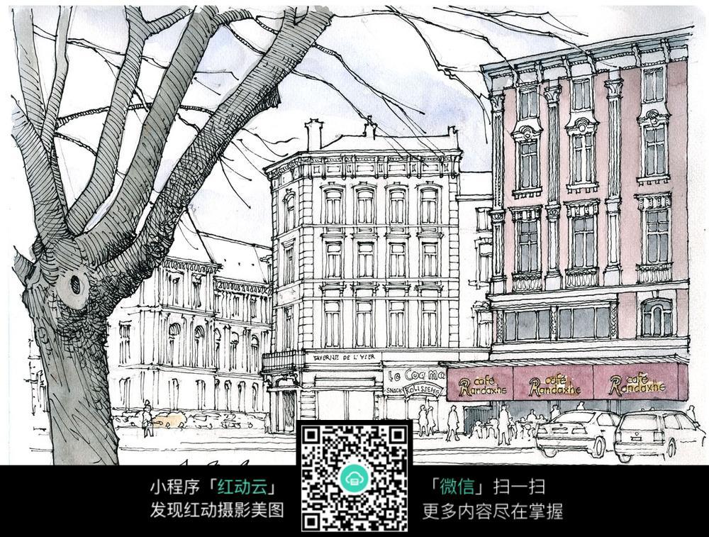 手绘欧式城市街景水彩线描画