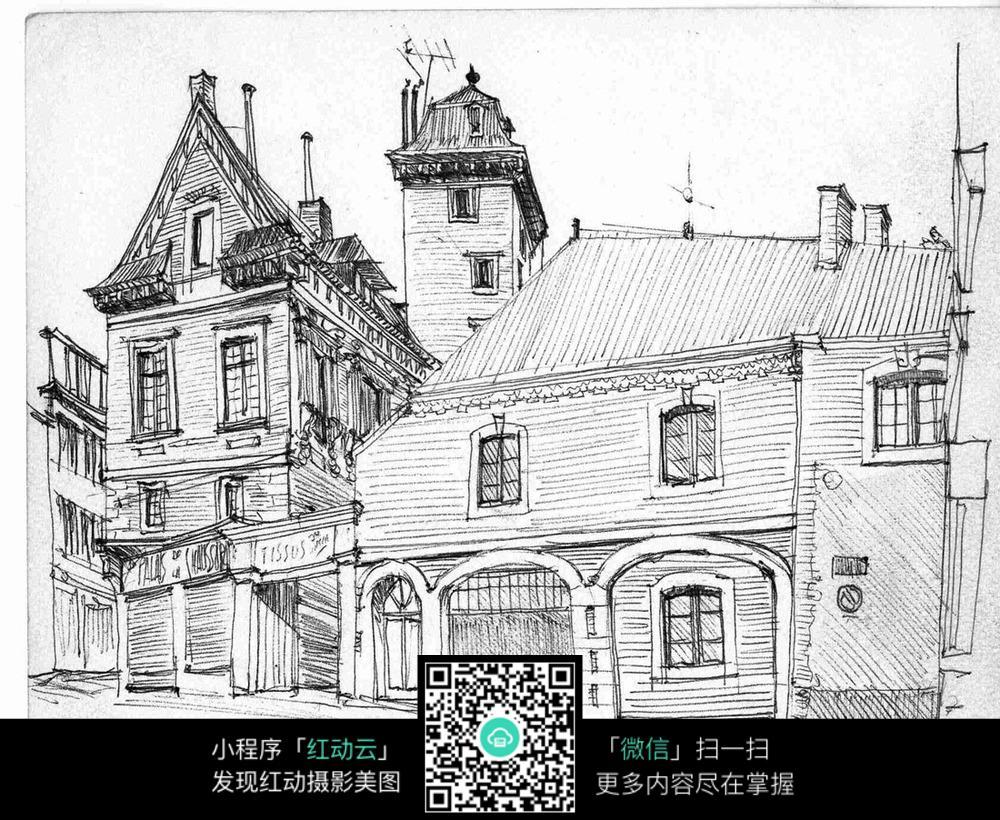 免费素材 图片素材 环境居住 建筑设计 手绘欧式房子钢笔线描画  请您图片
