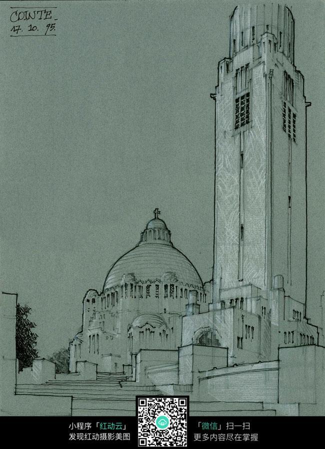 手绘欧式古老建筑简笔粉笔画图片