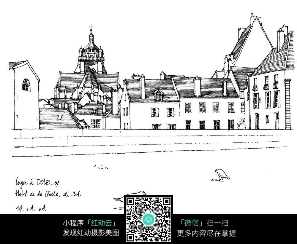 手绘欧式尖顶建筑钢笔线描画图片