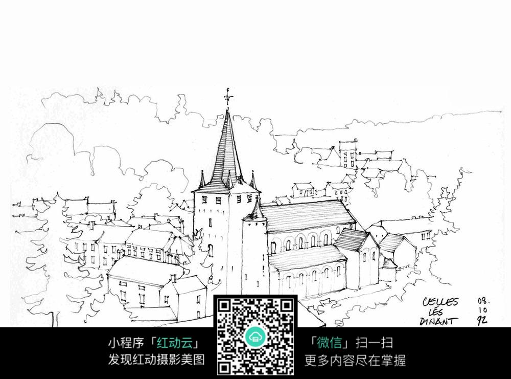 手绘欧式尖顶建筑景观线描画