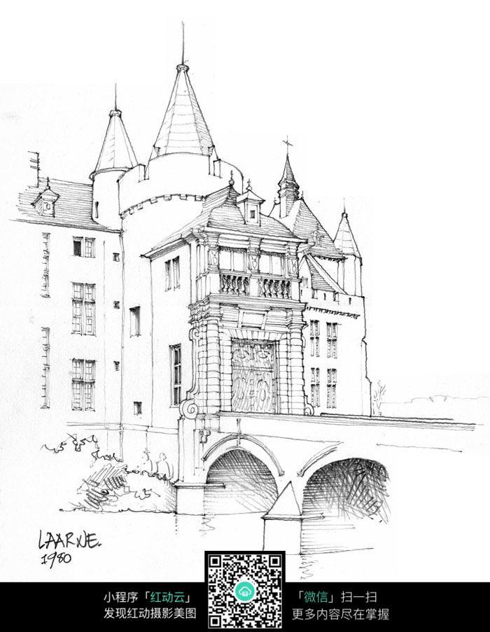 手绘欧式尖顶建筑铅笔线描画
