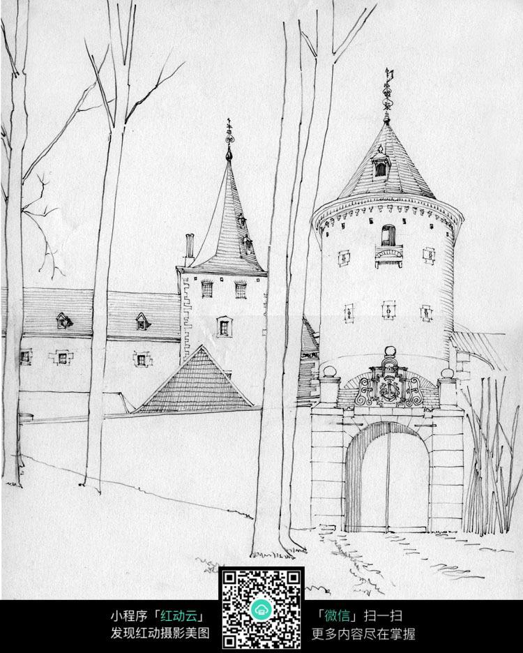 手绘欧式尖顶建筑线描画图片