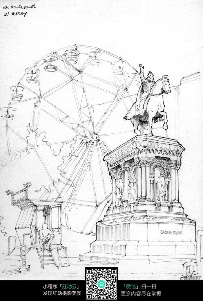 手绘欧式建筑雕塑钢笔线描画