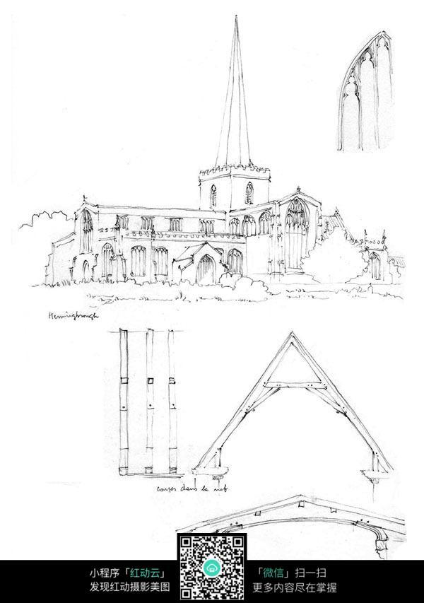 手绘欧式建筑钢笔画
