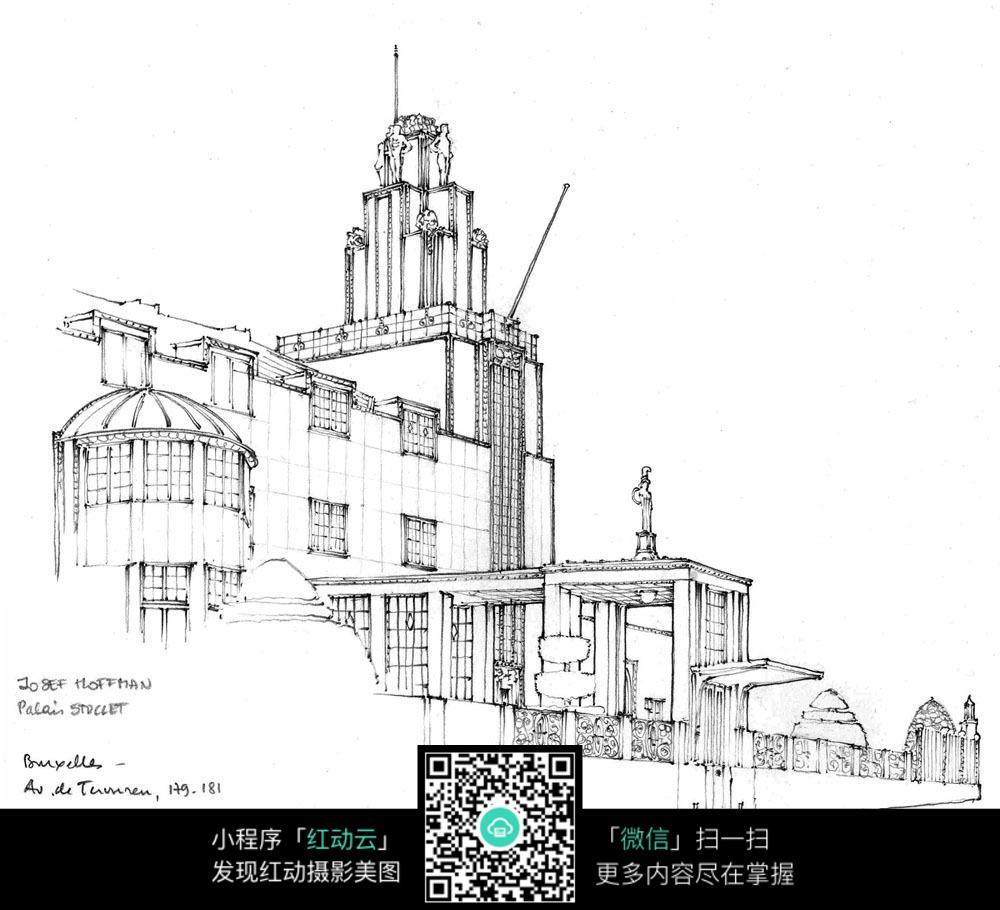手绘欧式建筑钢笔线描画图片
