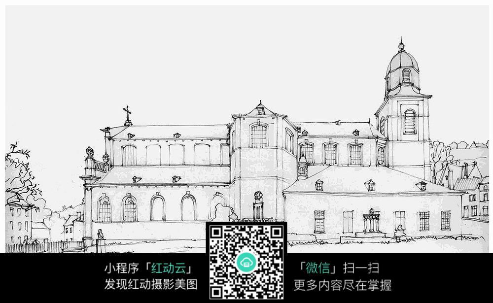 手绘欧式建筑广场线描画
