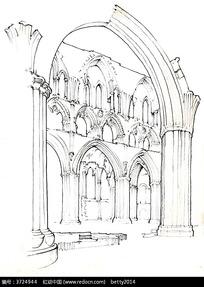 手绘欧式建筑结构钢笔画