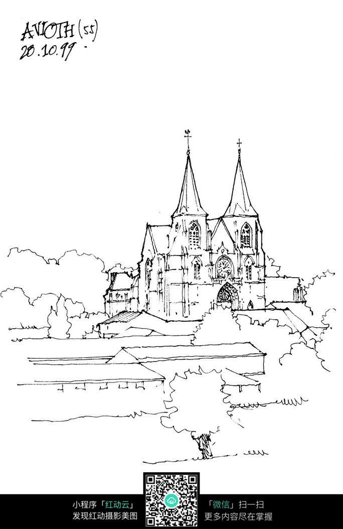 手绘欧式建筑景观钢笔线描画图片