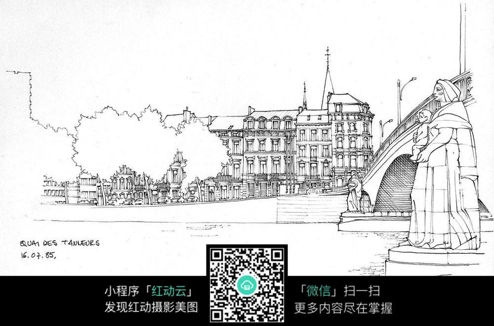 手绘欧式建筑景观小品钢笔画图片