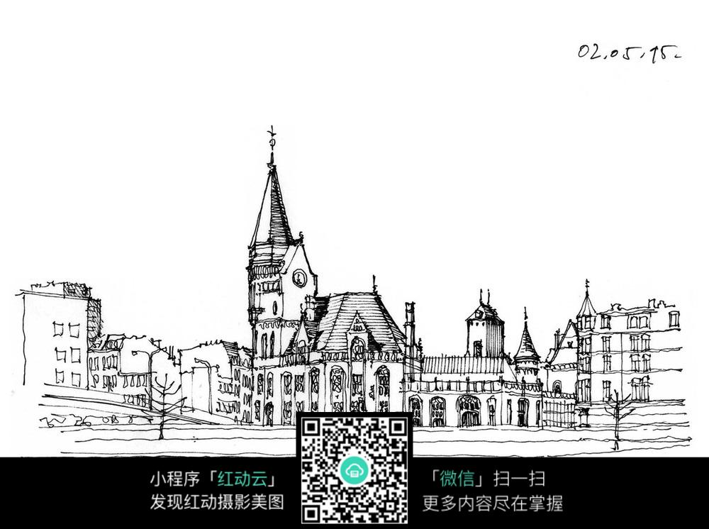 手绘欧式建筑线描图