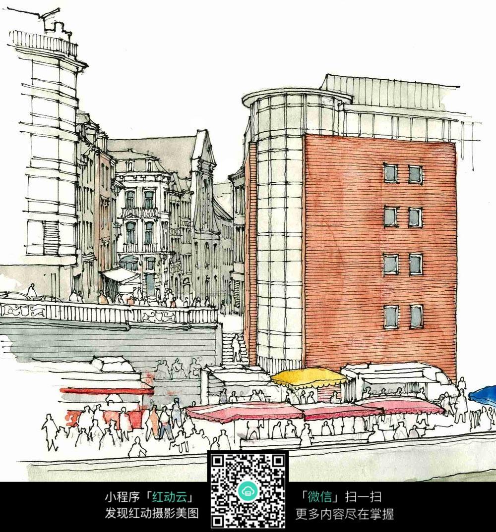 手绘欧式建筑休闲街钢笔水彩画