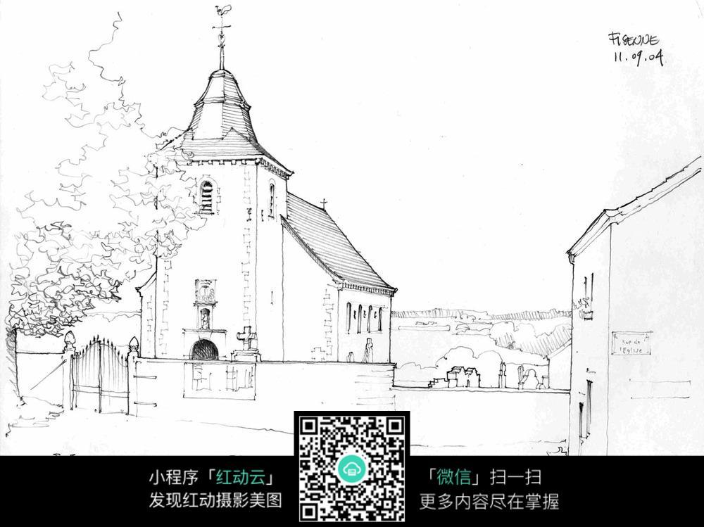 手绘欧式乡村建筑钢笔线描画