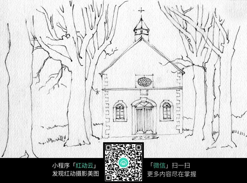 手绘欧式乡村建筑线描画