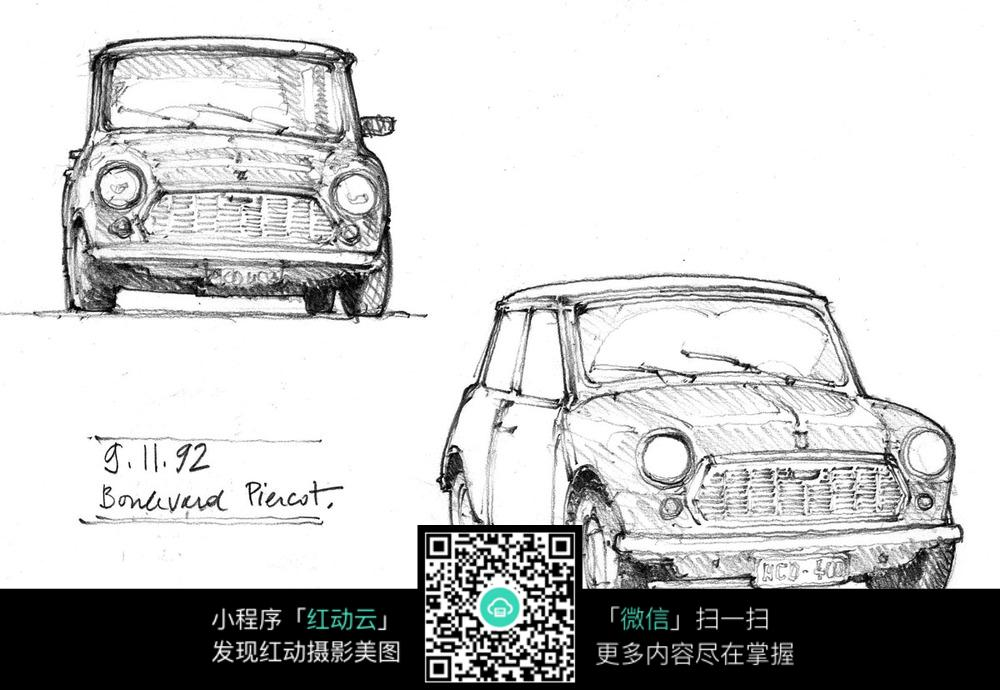 手绘汽车钢笔线描画