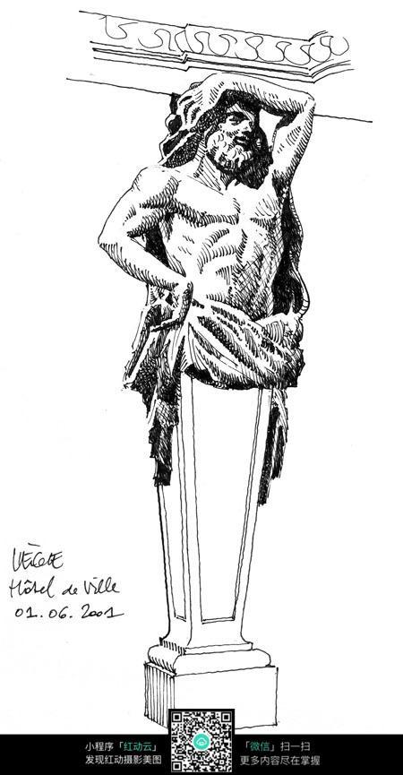 手绘人物雕塑结构钢笔画