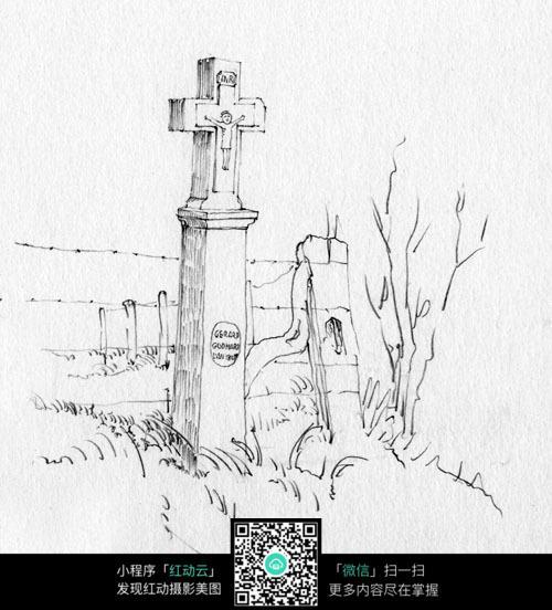 手绘十字架建筑线描画