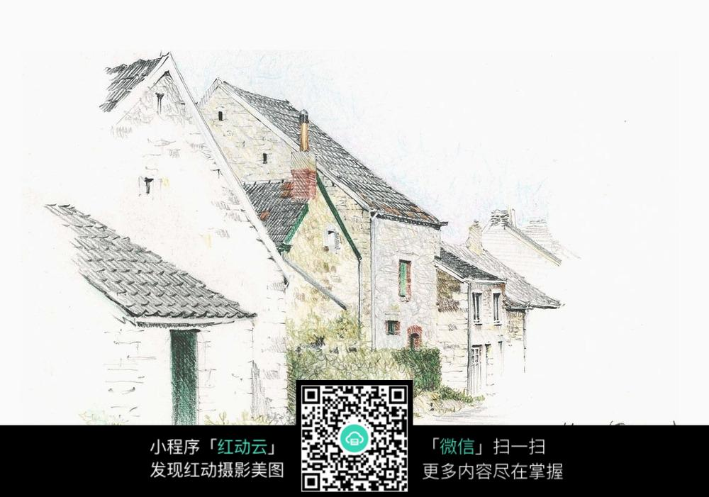 手绘乡村房子彩铅素描画图片免费下载 编号3724640 红动网