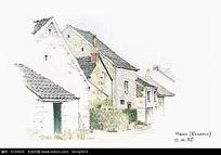 手绘乡村房子彩铅素描画