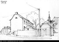 手绘乡村建筑线描画图片